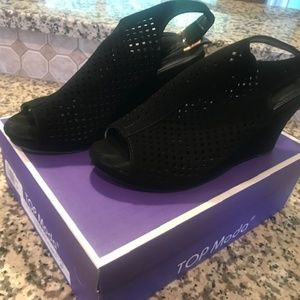 Black wedges - peep toe, size 8, Top Moda brand